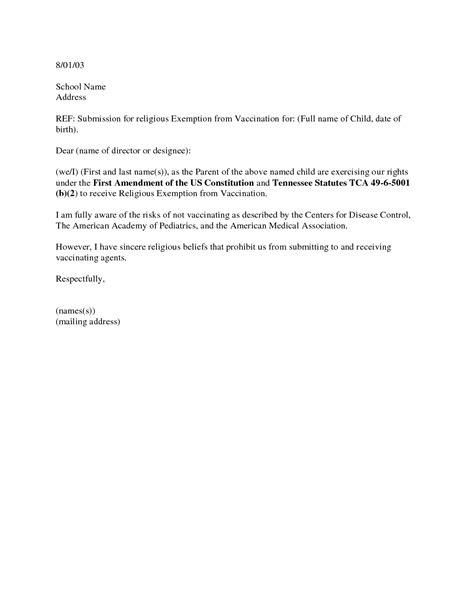 vaccination exemption letter sample immunization