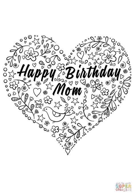 Happy Birthday Mom coloring page | Free Printable Coloring