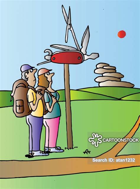 cartoons und karikaturen mit taschenmesser