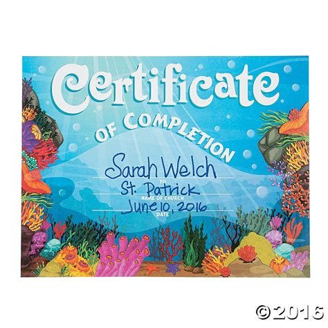 vbs certificate the sea certificates of completion orientaltrading sea discovery vbs ideas