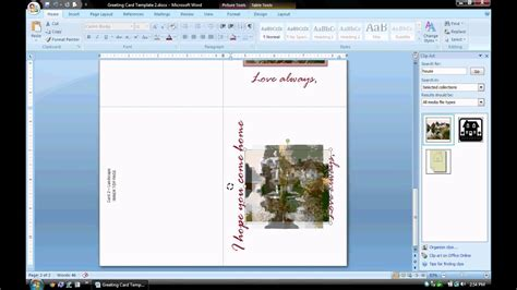 how to make a card template in microsoft word 2010 ms word tutorial part 2 greeting card template