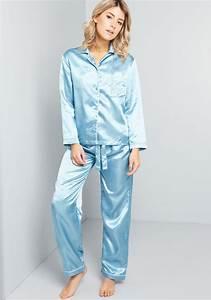 Bella T Shirt Color Chart Sleep All Day Satin Pajamas Blue Modcloth