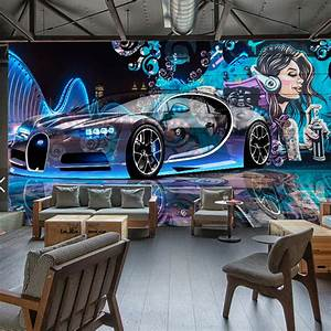 modern creative street graffiti sports car photo wallpaper With balkon teppich mit cars tapete