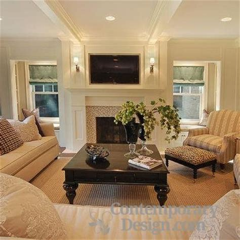 Living Room With Fireplace And Windows by Decorating Around A Fireplace