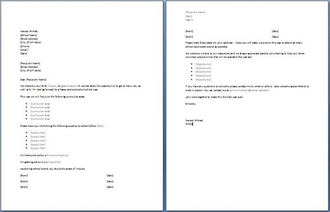 school  letter formal word templates