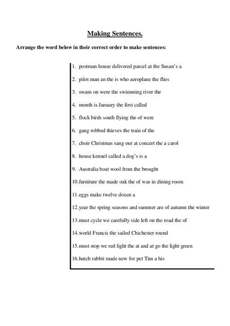 arrange  jumbled sentences