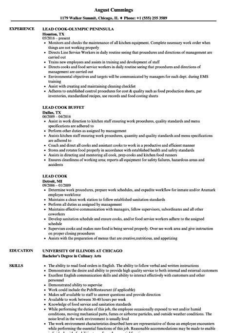 lead cook resume sles velvet jobs