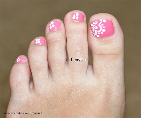 Easy Lace Toe Nail Art Design - YouTube