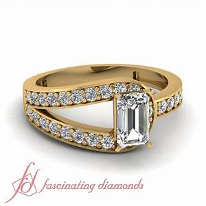 1.25 Ct Emerald Cut Bypass Diamond Wedding Rings For Women ...