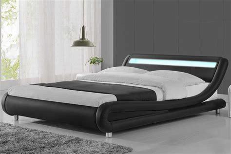 Bed Size by Madrid Led Lights Modern Designer Bed Black Faux Leather