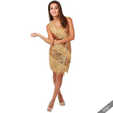 damen kleid fransenkleid pailletten 20er jahre swing charleston minikleid ebay