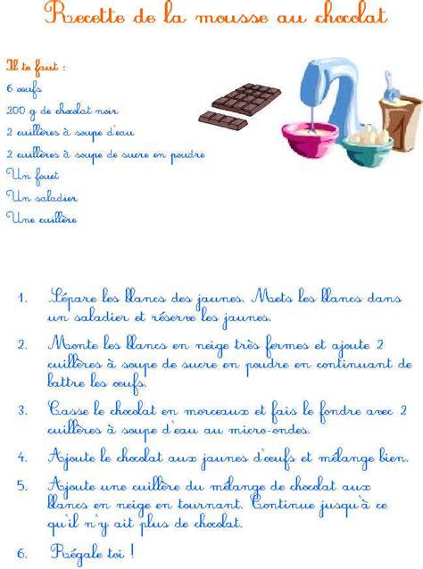 recette de cuisine a imprimer imprimer la recette de la mousse au chocolat tête à modeler