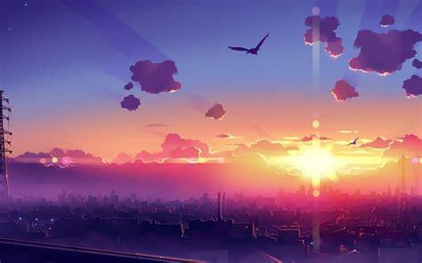 city birds clouds sun anime wallpaper hd anime