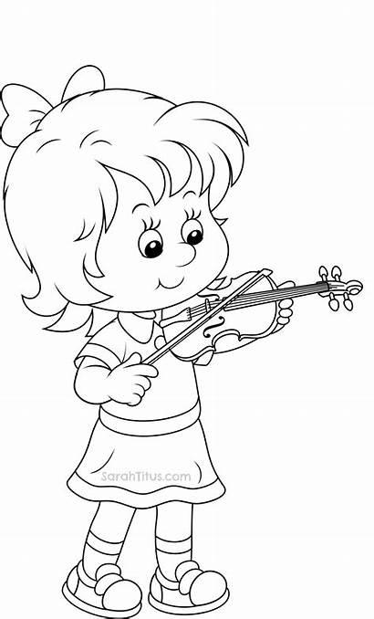 Coloring Pages Violin Playing Sarahtitus Printable Child
