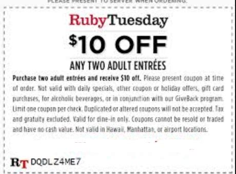 coupons ruby tuesday 2017 2018 best cars reviews