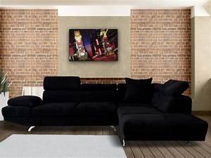 Canapé d'angle XL en tissu Noir ou Beige ROMAIN