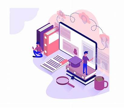 Education Virtual Isometric Classroom Learning Concept Training
