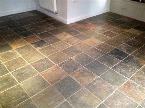 tile flooring cleaning multi coloured slate tiled in a barnard gate kitchen oxfordshire tile doctor
