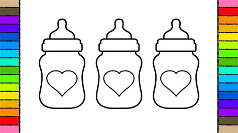 learn  color  kids  color  heart baby bottles coloring pages youtube