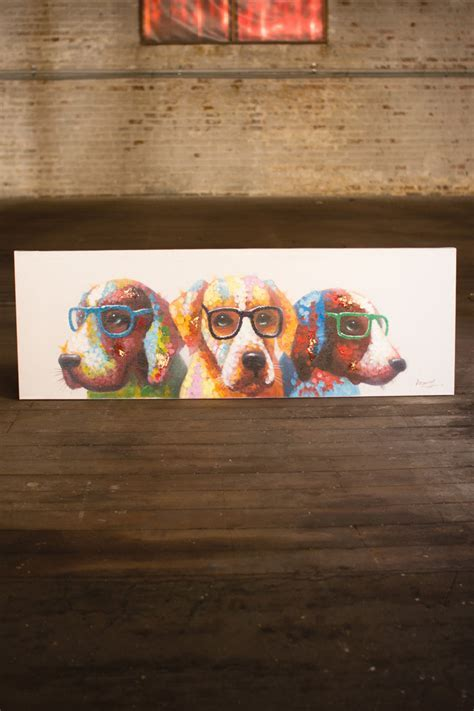 oil painting  colorful dogs with glasses