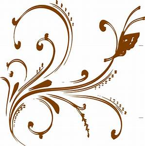 Gold Floral Design With Butterfly Clip Art at Clker.com ...
