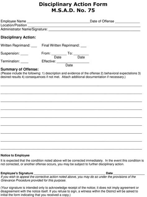 effective employee write  forms disciplinary