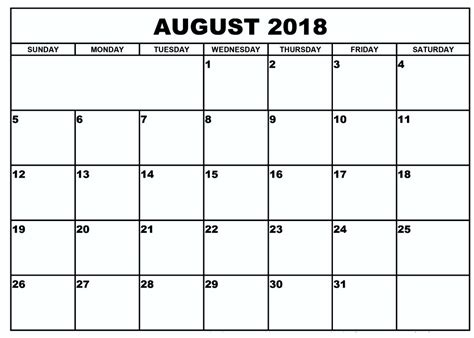 2018 calendar template printable august 2018 calendar printable template