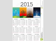 Calendrier 2015 Avec Des Saisons Illustration Stock