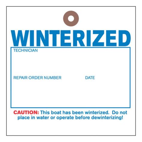 Boat Tags by Quot Winterized Tyvek Tag For Boat Dealer S Winterizing Service