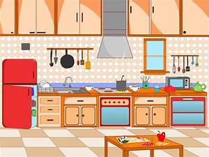 Kitchen clipart kitchen scene - Pencil and in color ...