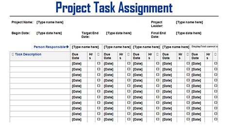 Project Task Assignment Word Template