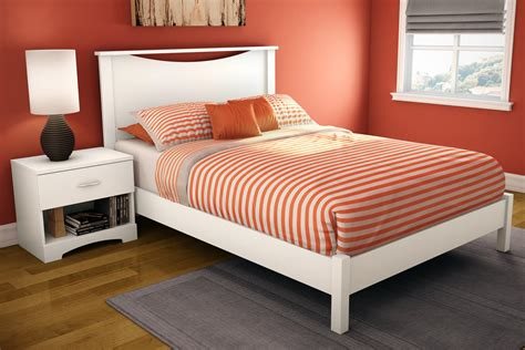 Step One Full Platform Bed & Headboard In Pure White