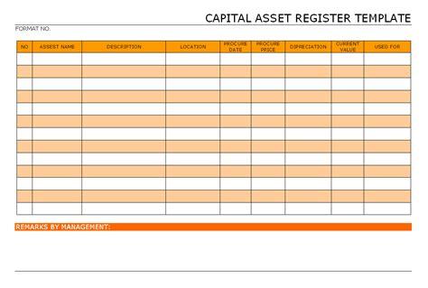 capital asset register template format samples word