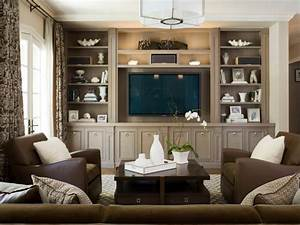 Traditional living room with built in shelves home for Decorating built in shelves in living room