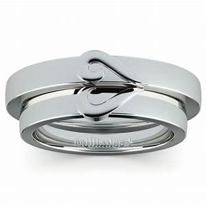 matching curled heart wedding ring set in white gold With matching white gold wedding rings