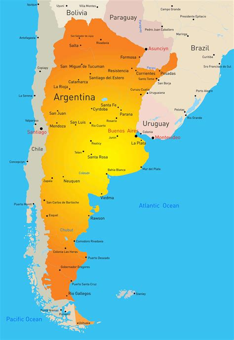 argentina map guide   world