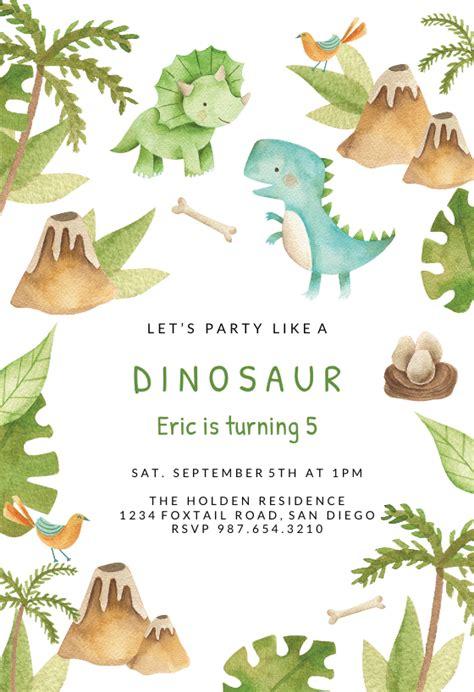 dino adventure birthday invitation template