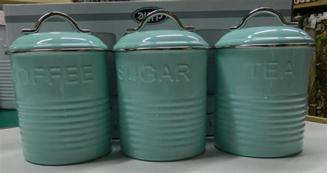 Retro Kitchen Canisters Set by Enamel Retro Kitchen Canisters White Blue Grey Tea