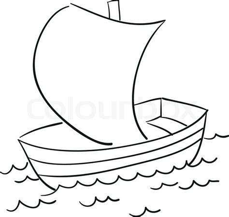 Outline Of Boat To Colour by Vector Sketch Of The Boat For Your Own Design Stock