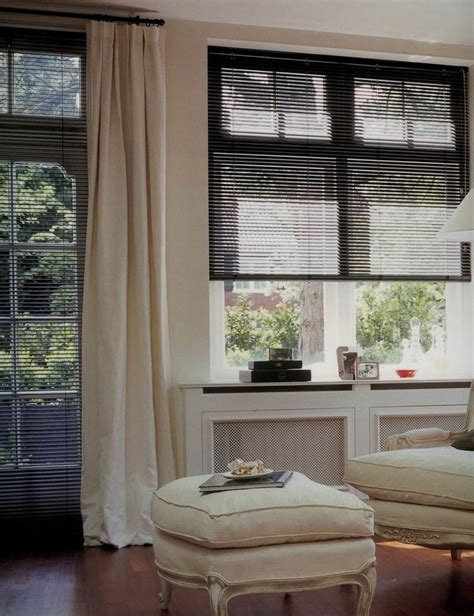 black blinds  sheer white curtains  grey  taupe