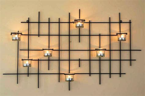 wall mounted tea light holder 7xxl candle metal 83cm
