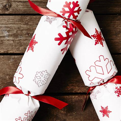 recycled snowflakes white christmas crackers by sophia