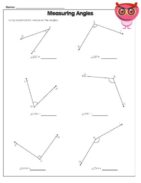 using a protractor worksheet geometry