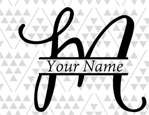 monogram letter  split letter  silhouette files digital etsy