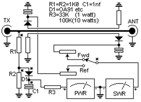 simple swr and pwr meter free wiring diagram
