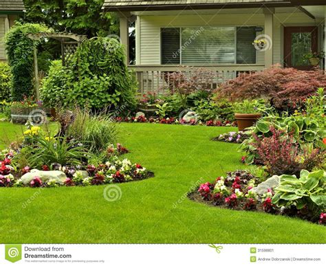Front Yard Landscaping Stock Image Manicured Beautifully