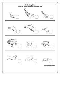 kindergarten activity sheet  arrange  ascending order