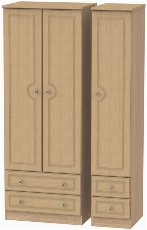Assembled Wardrobes by Pembroke 3 Door Wardrobe With Drawer Light