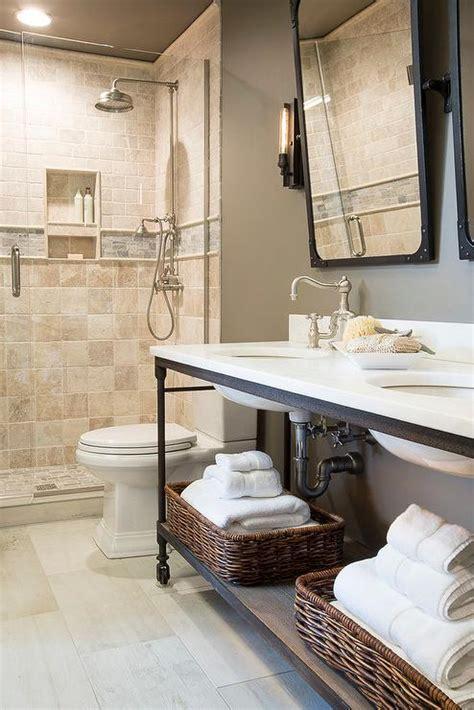 industrial double washstand dutch faucet bathroom handle caesarstone pure quartz lever widespread