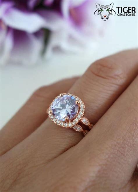 carat halo wedding set bridal lavender purple man
